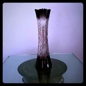 Bohemian Ruby Red Cut to Clear Crystal Vase